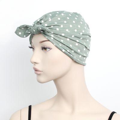 Polka dot soft fabric head turban.