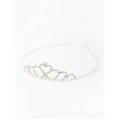 Crystal heart tiara in silver plate.
