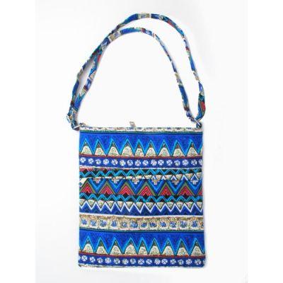Bohemian multi print shoulder bag. 28x26cm.