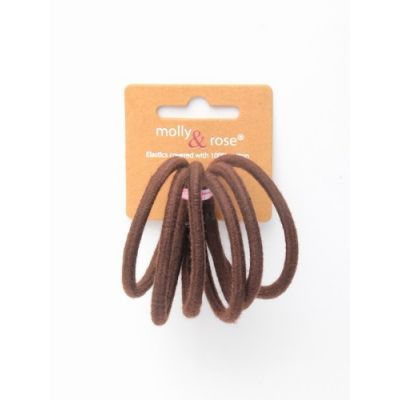 Cotton elastics -  Brown - 4mm thick - Card of 6