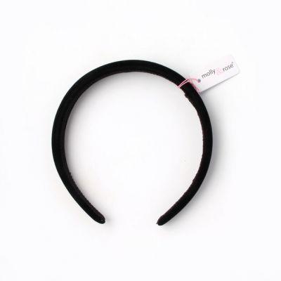 2.5cm slightly padded Black velvet aliceband