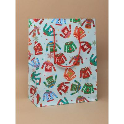Size: 23x18x9cm Christmas Jumper gift bag.