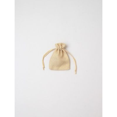 Size: 10x7cm Metallic gold drawstring gift bag.