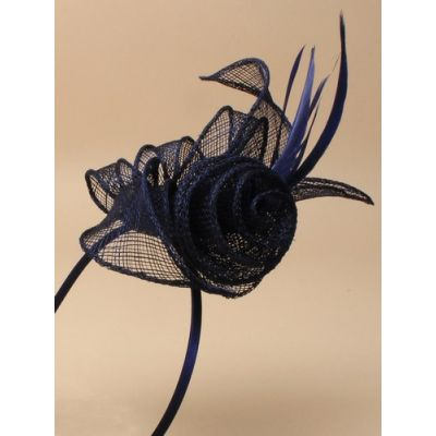 © Style Marie, Navy coiled sinamay fascinator on an aliceband
