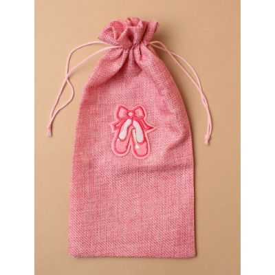 Pink imitation jute drawstring ballet shoe bag