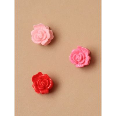 Card of 6 small rose mini clamps 2cm