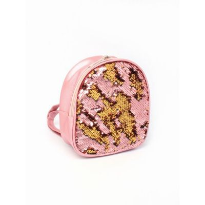 Child size pink back pack with sequin front. 22x18x7cm.