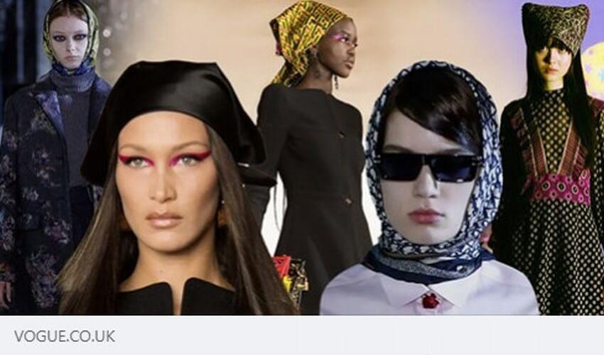 Vogue image of models wearing headscarves