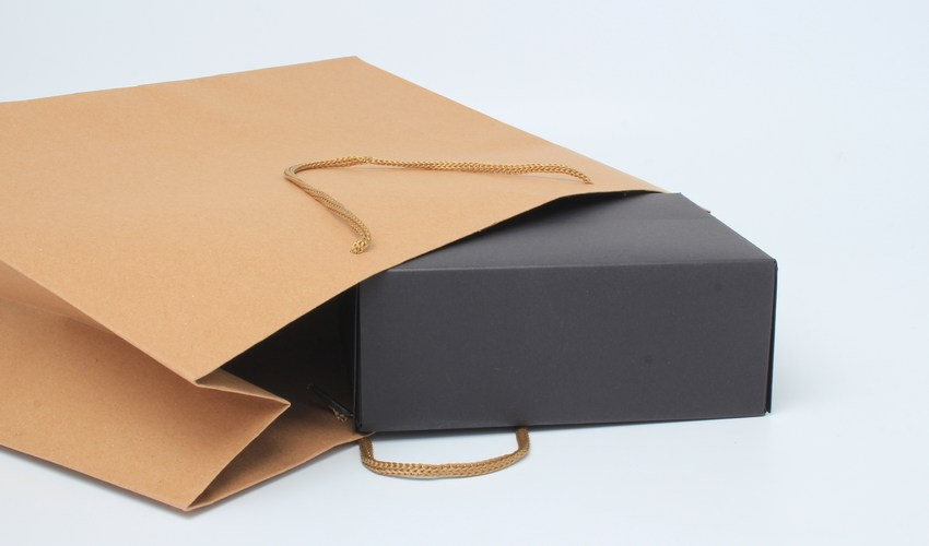 Brown Paper Carrier Bag with Black Box Inside