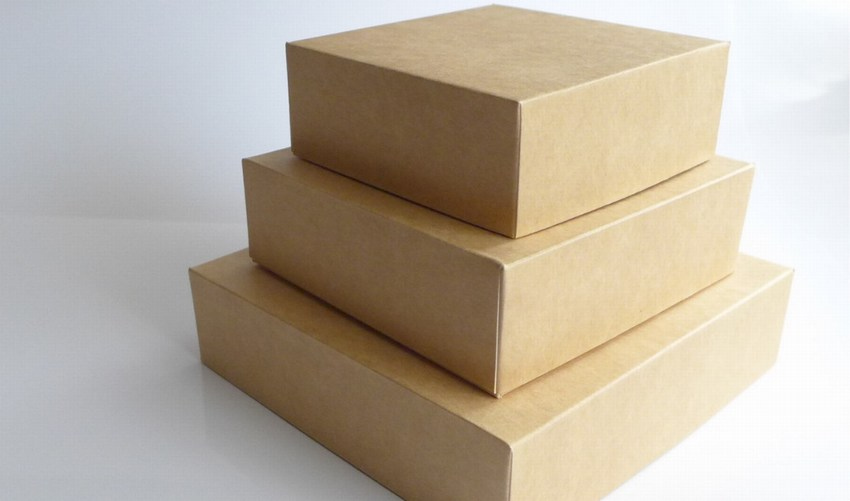 Wholesale Cardboard Boxes.  Stack of 3 on white background.