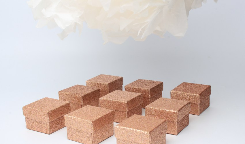 Wholesale gift boxes for wedding favours - rose gold glitter