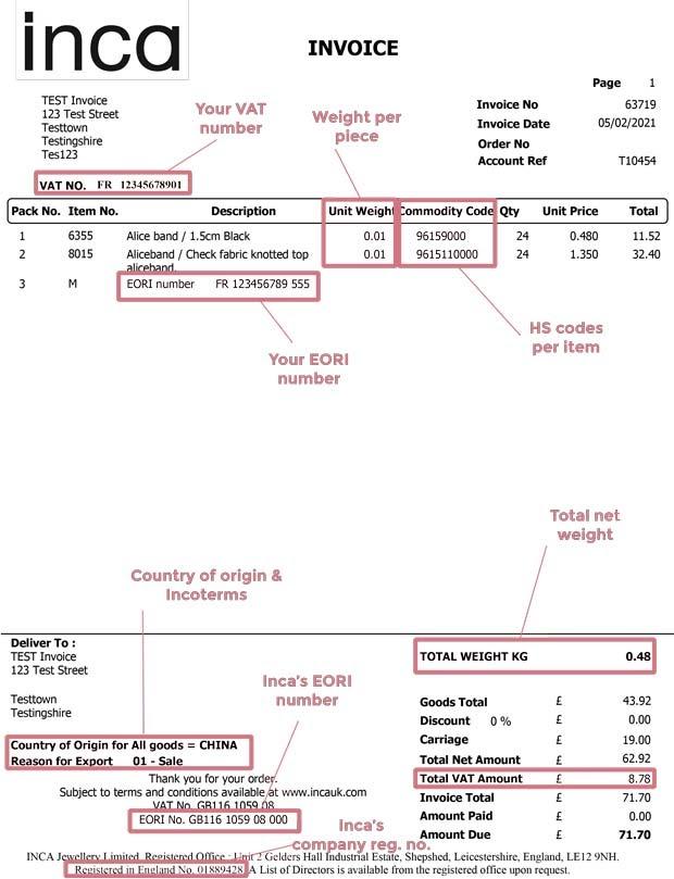 Invoice layout